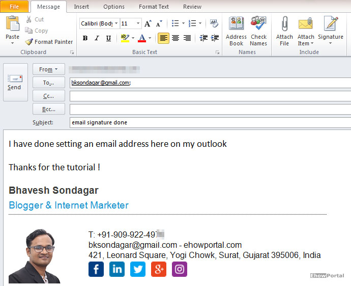 personal email signature on outlook