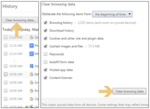 Clear cache data and history from browser