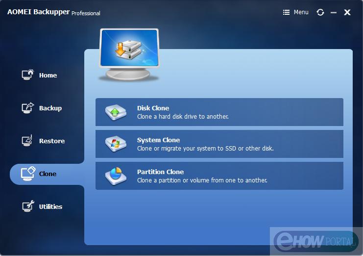 AOMEI Backupper - Clone Option