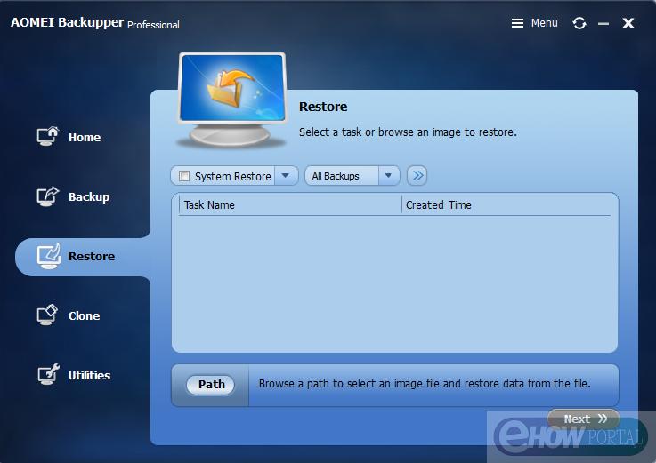 AOMEI Backupper Restore Option
