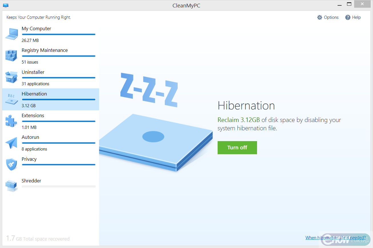 Hibernation option in CleanMyPC