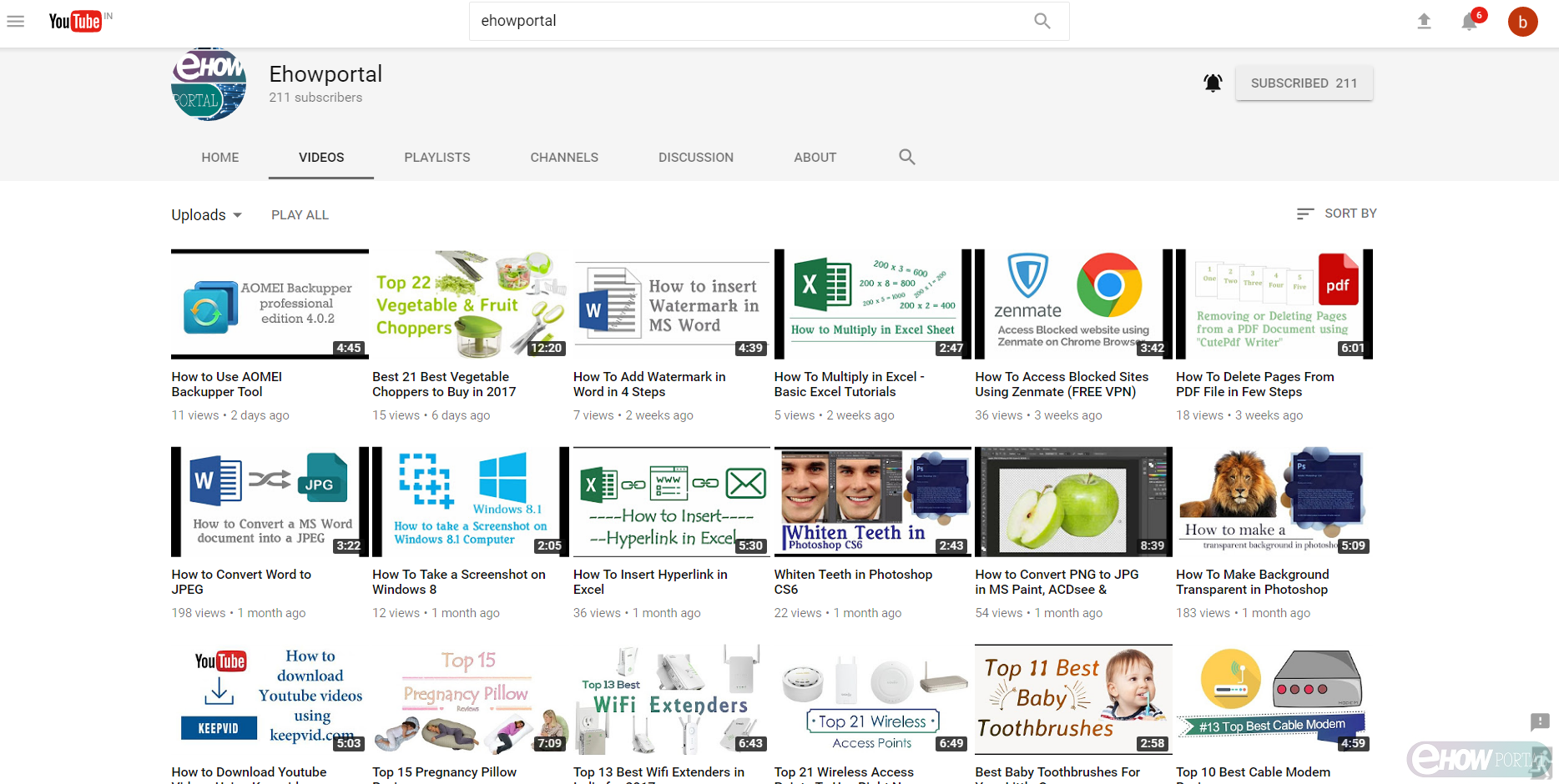 Youtube channel video page