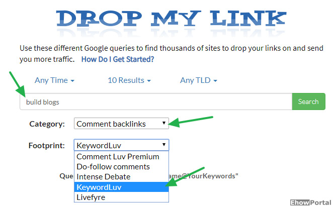 Drop My Link - Find SEO Footprints To Create Backlinks On