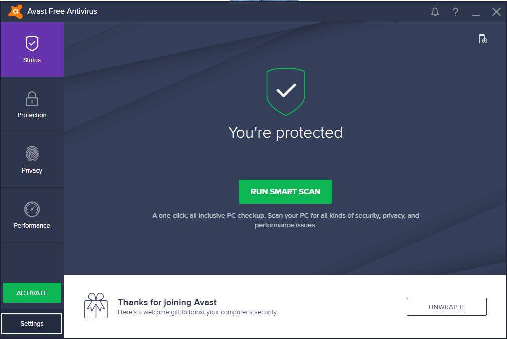 Avast user interface screen
