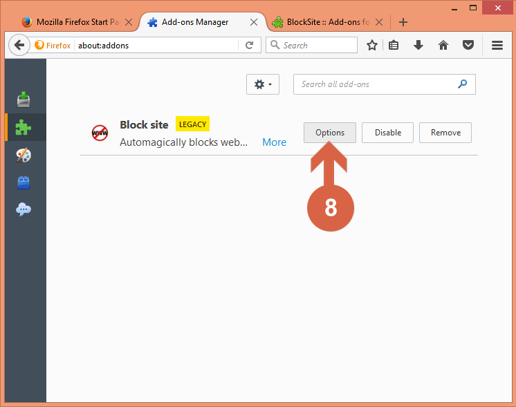 Here, you have to click the Options button next to Block site.