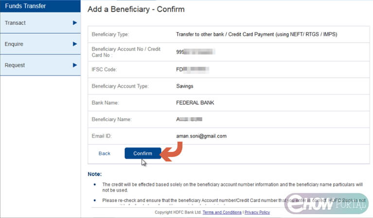 HDFC Adding Benificiary Confirmation