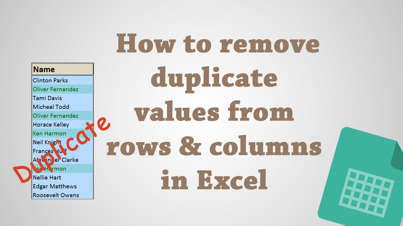 How To Remove Duplicate In Excel