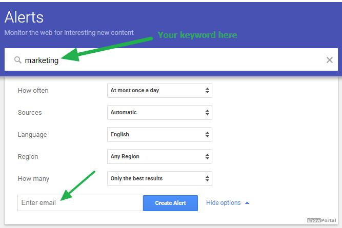 Creating Google Alert
