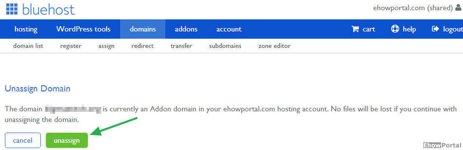 Deleting domain from bluehost