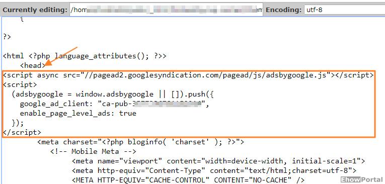 Google Adsense Code to Blog Header File