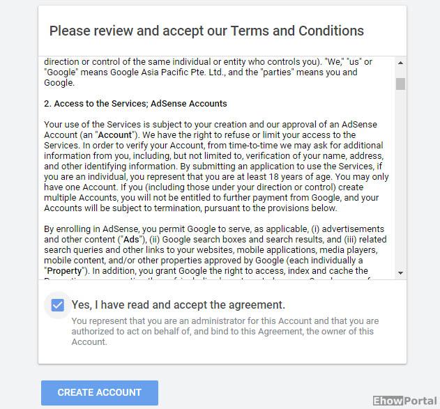 google adsense account signup process