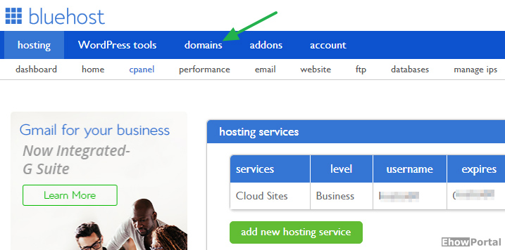 how to delete domain bluehost