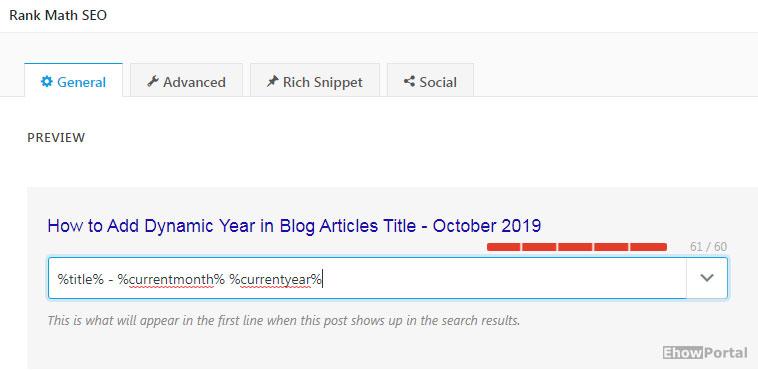 Adding Dynamic Year in Blog Title in Rankmath SEO