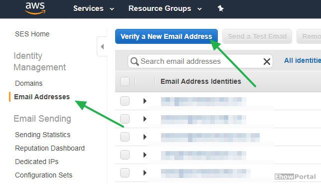 Verify Email Address on Amazon AWS