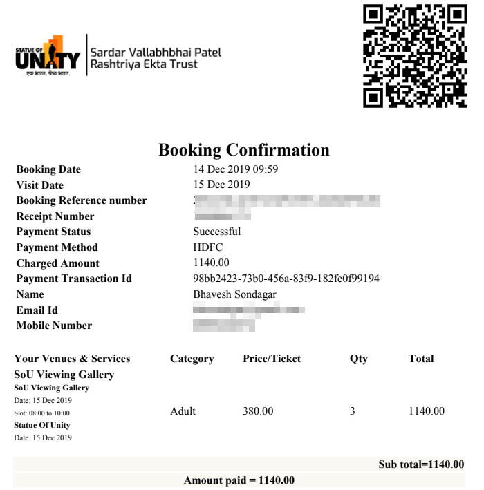The Statue of Unity Ticket Online Booking