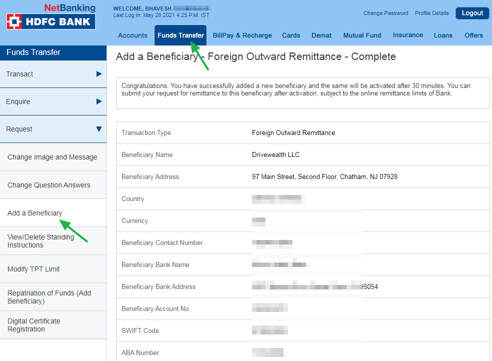 Adding Beneficiary Account in HDFC Net Banking
